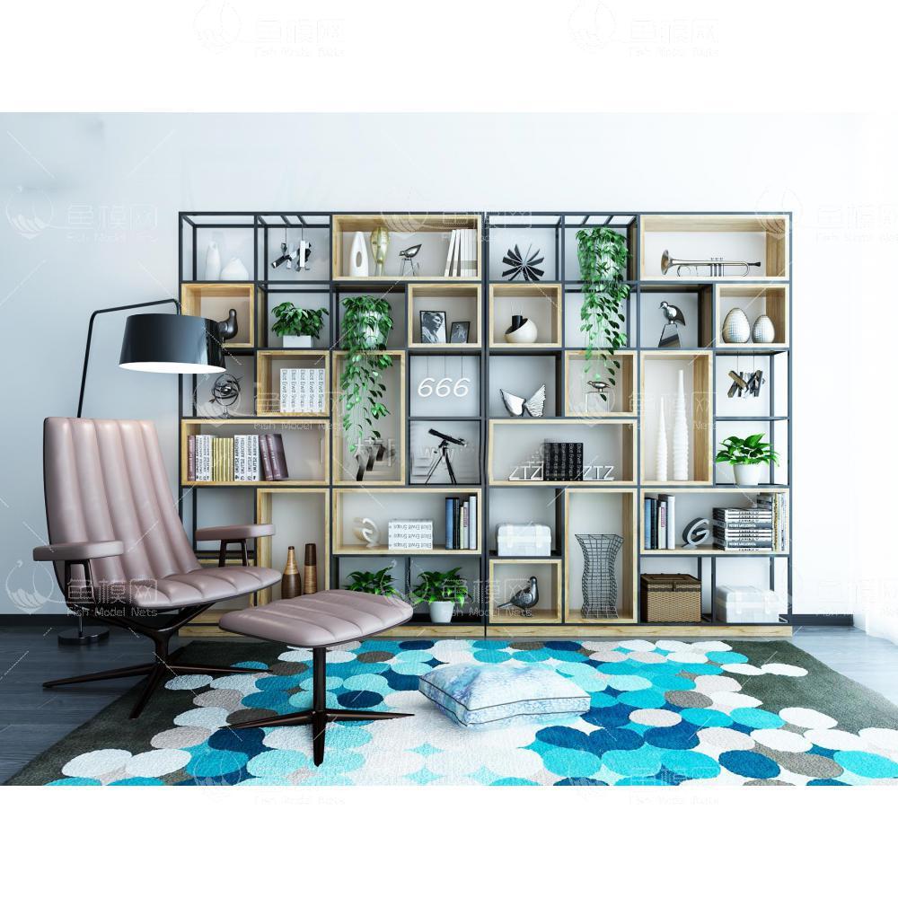 家具类柜子书柜书架现代北欧装饰柜沙发脚蹬组合3D模型素材,模型ID:19228