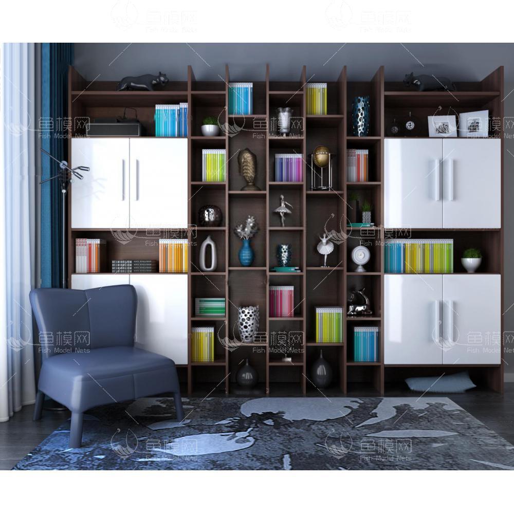 北欧书柜单椅组合3d模型
