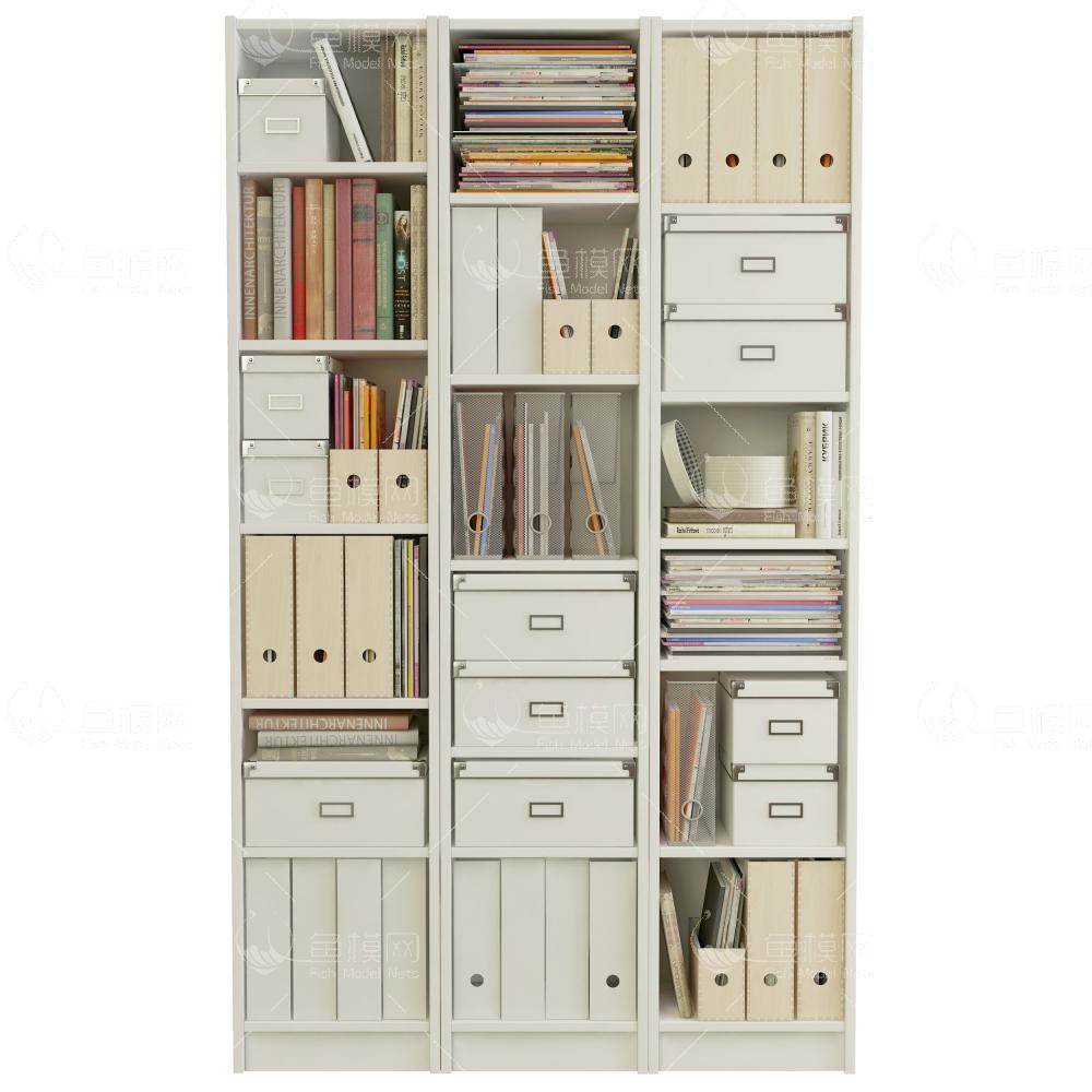 北欧装饰书柜3d模型