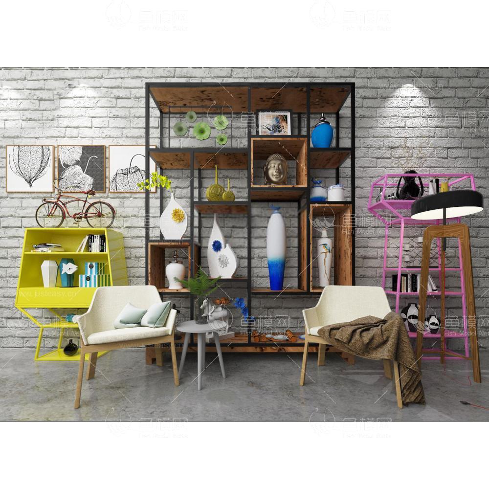 后现代工业风装饰柜椅子组合3d模型
