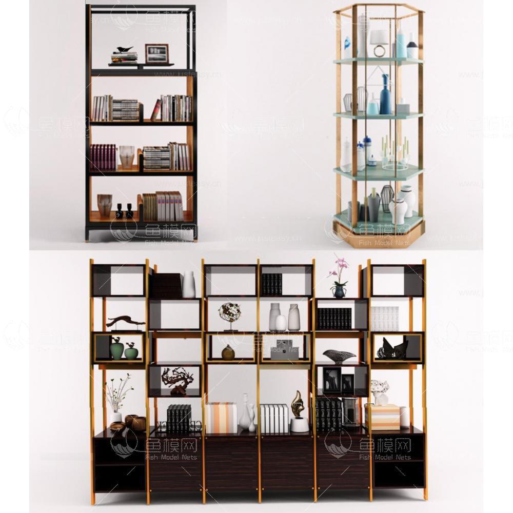 书柜货架组合3d模型