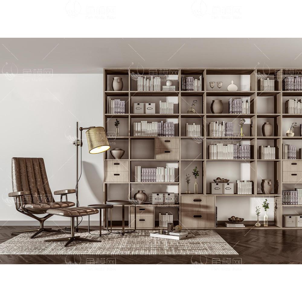 家具类柜子书柜书架现代书柜书架休闲椅组合3D模型,模型ID:19246