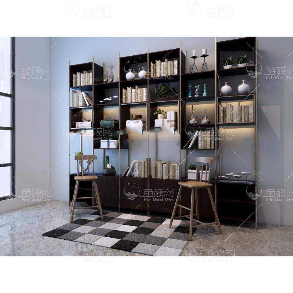 现代书柜椅子组合3d模型免费下载
