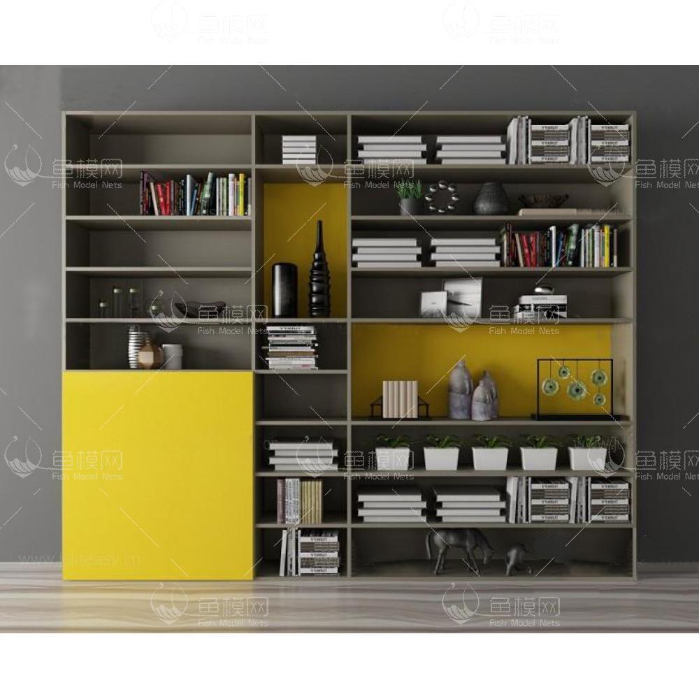 现代书柜组合3d模型免费下载