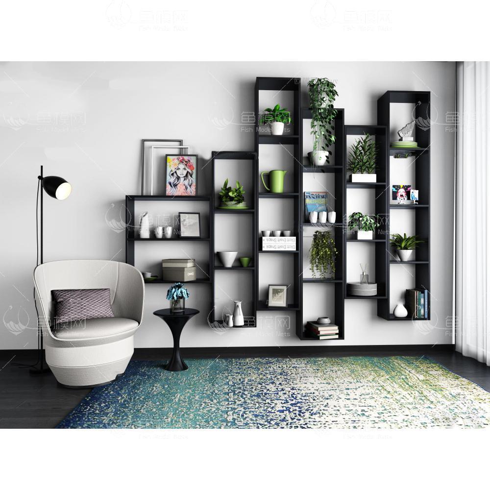现代装饰柜架休闲椅组合3d模型免费下载