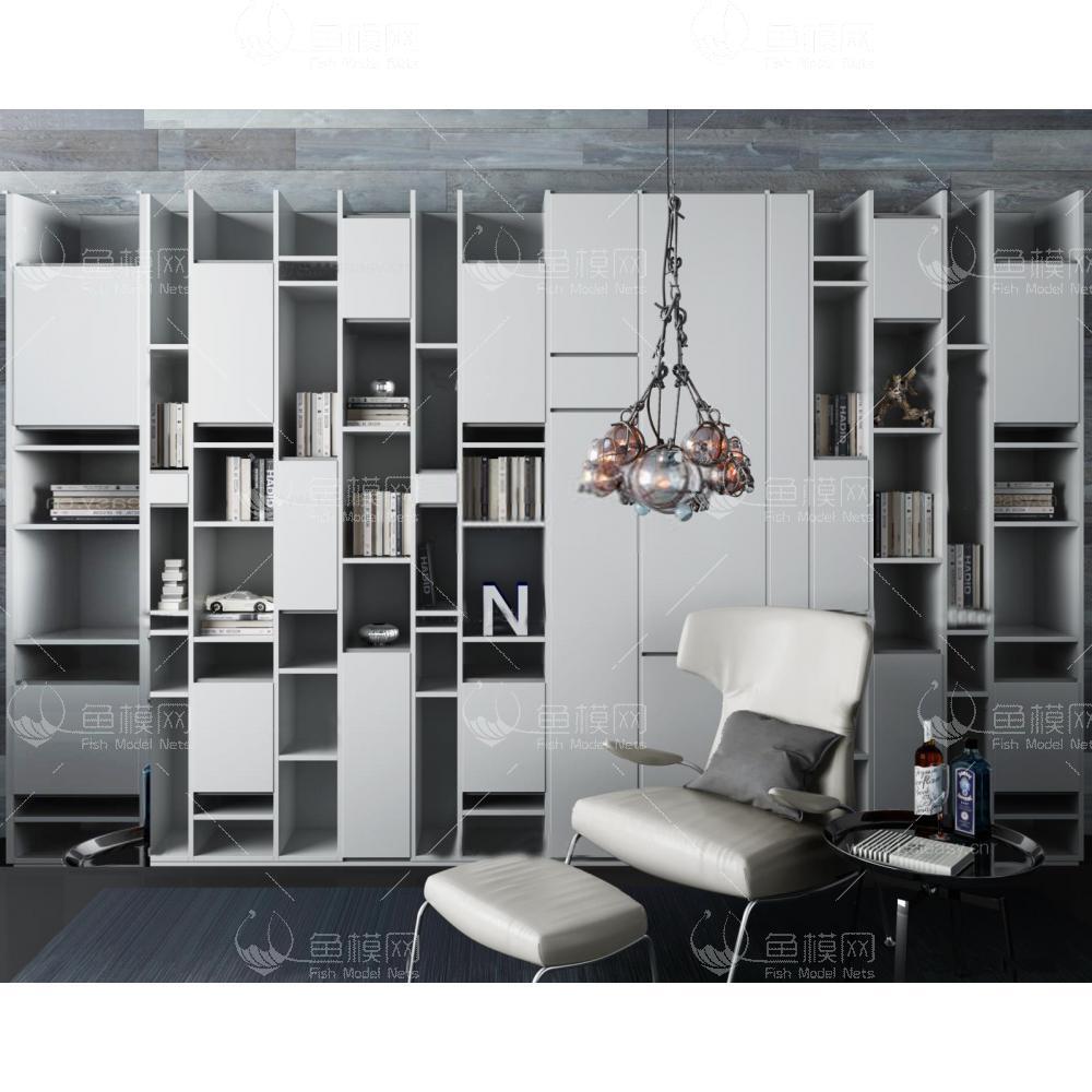 超后现代书架休闲椅组合3d模型
