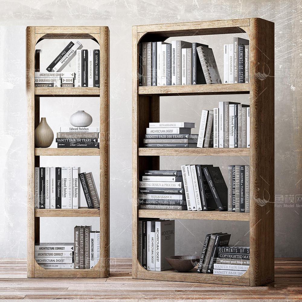 现代实木书架书籍组合3d模型