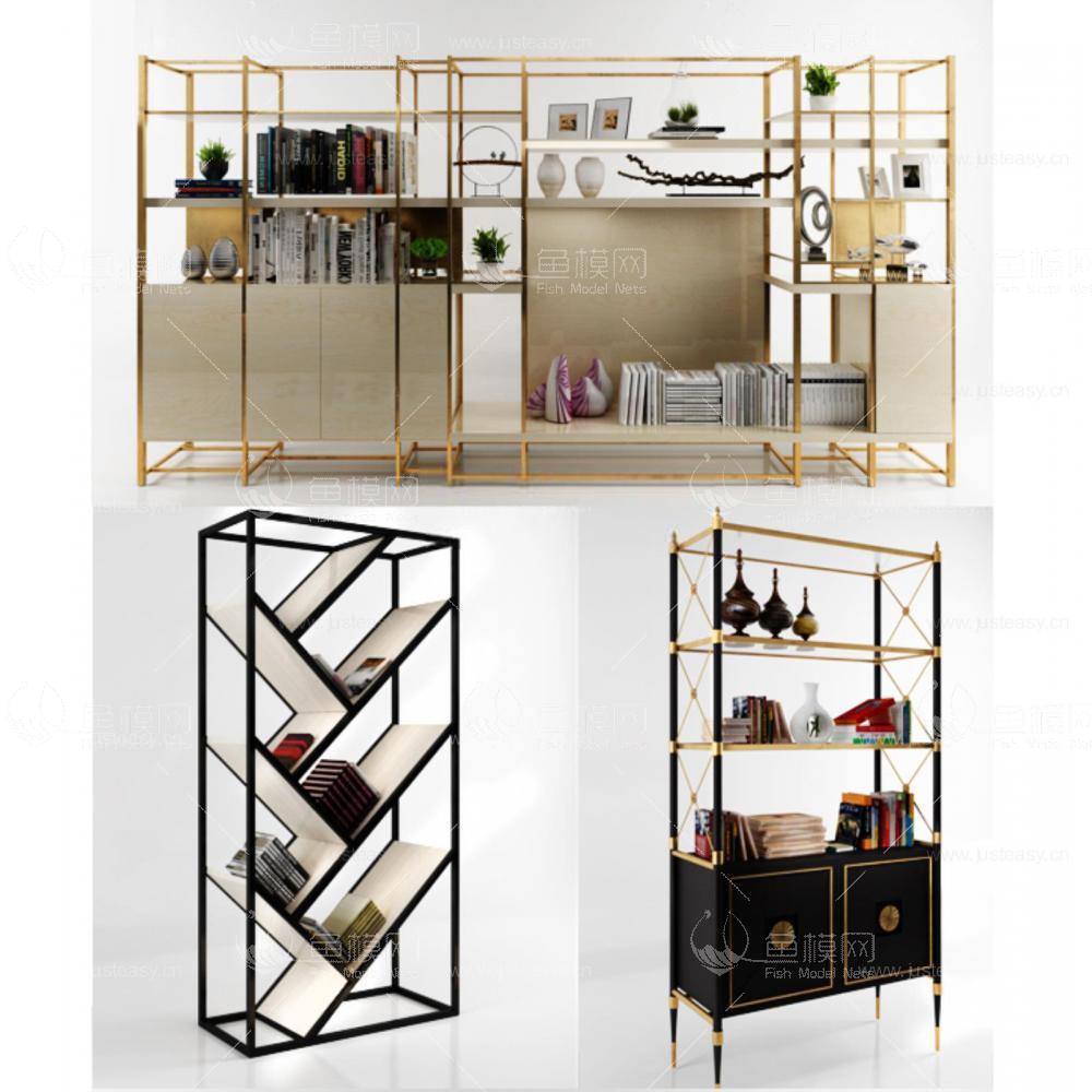 现代书柜货架组合3d模型
