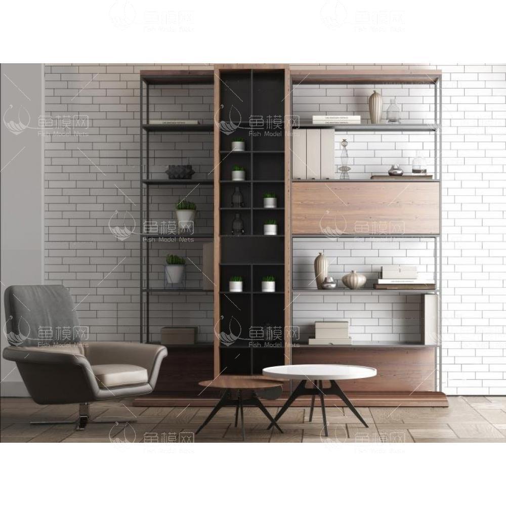 现代书架沙发椅组合3d模型
