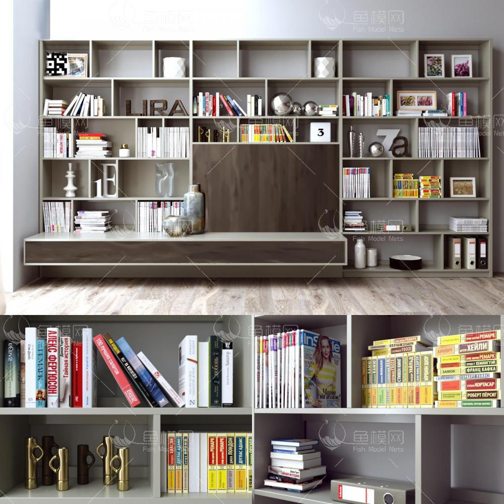 现代书架书籍组合3d模型