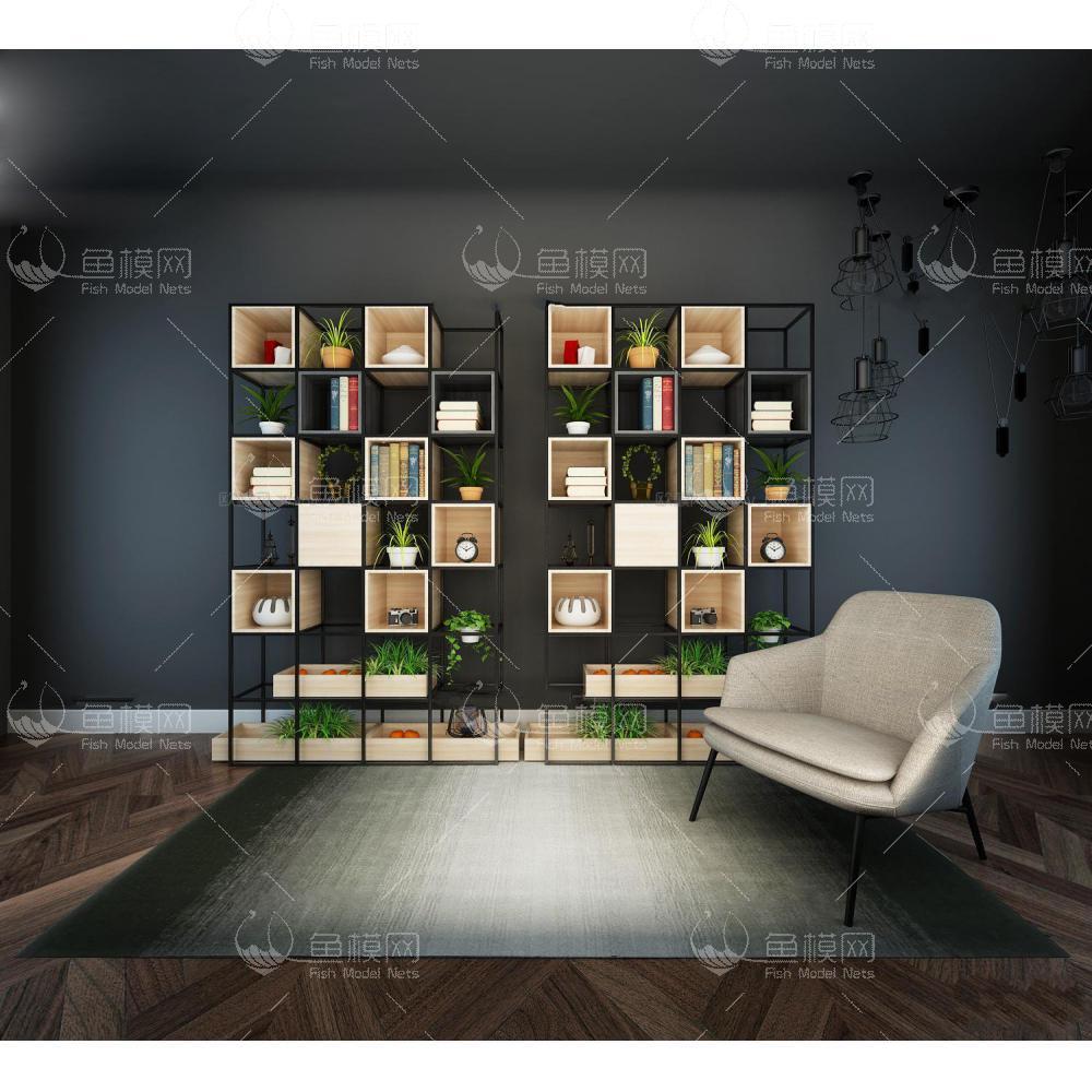 现代休闲椅装饰架盆栽书籍组合3d模型