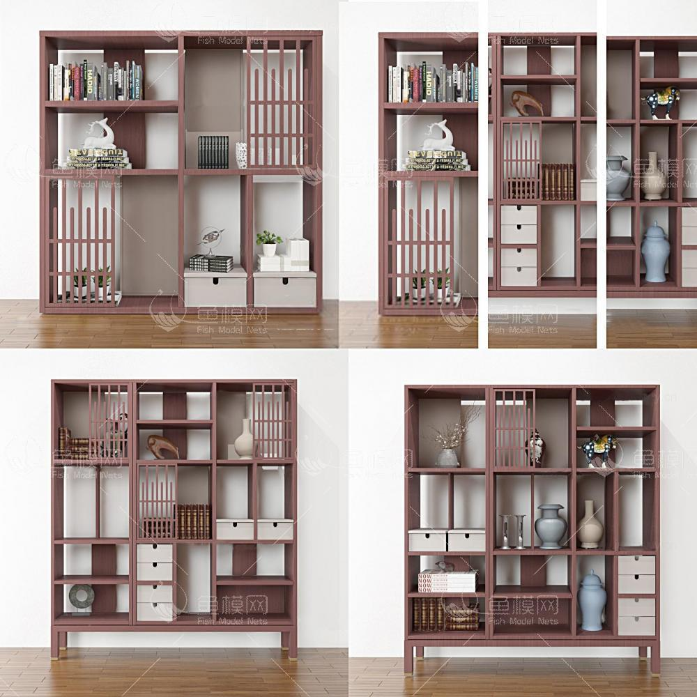 新中式书柜组合3d模型
