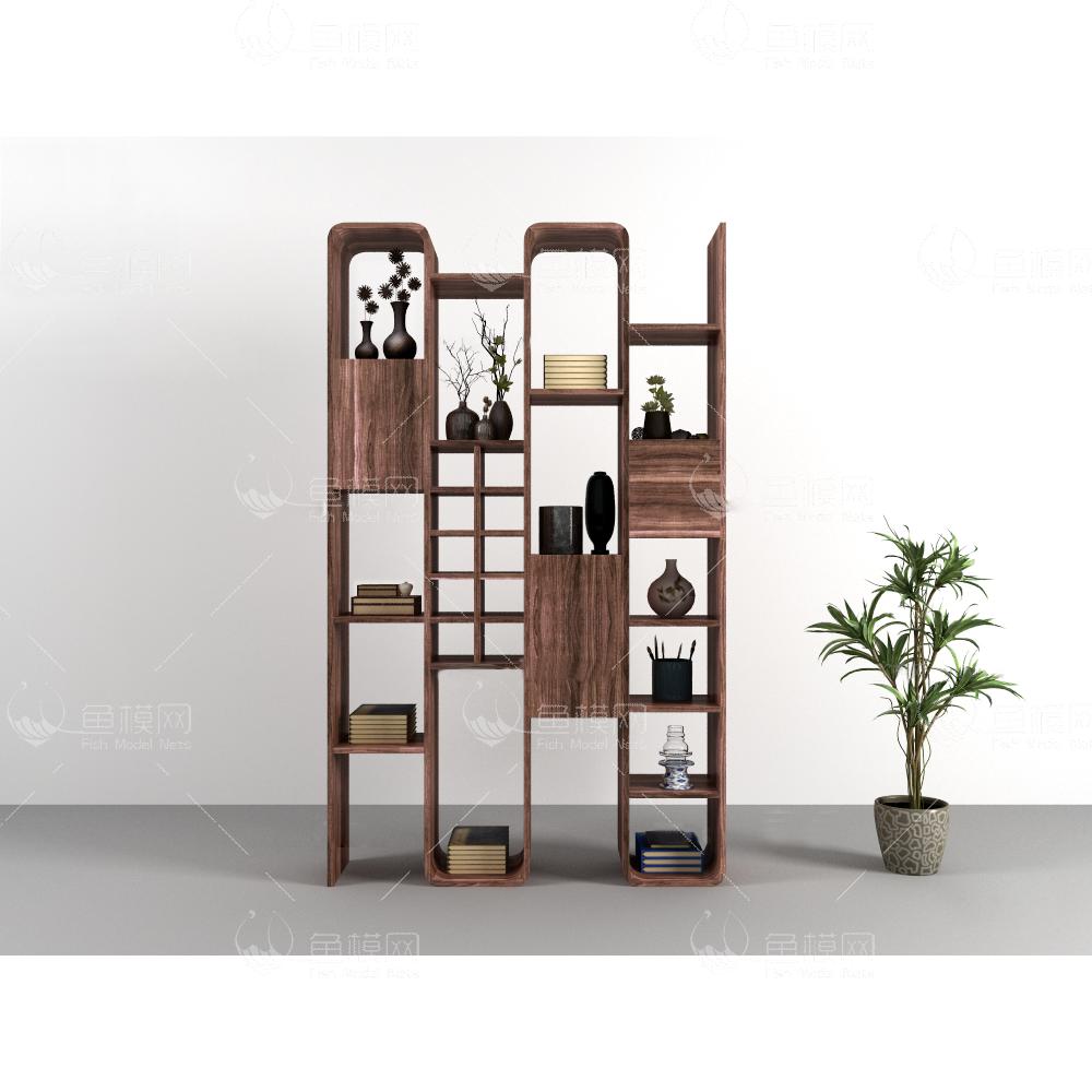 中式实木书架书籍装饰摆件盆栽组合3d模型