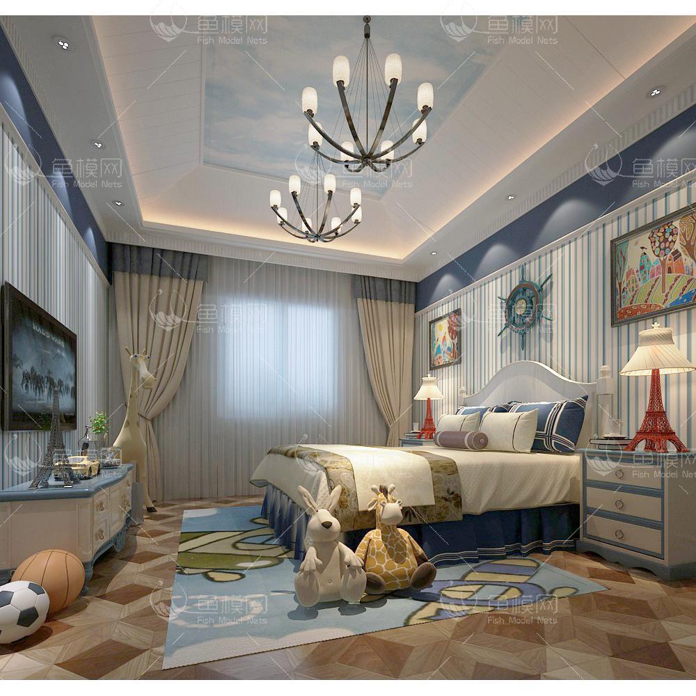 地中海风儿童房 (7)3d模型