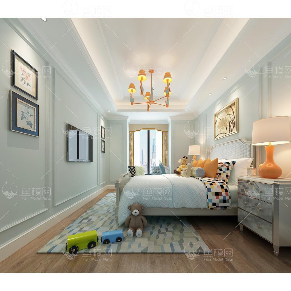 整体家装卧室空间儿童房现代风格儿童房 (14),模型ID:19315