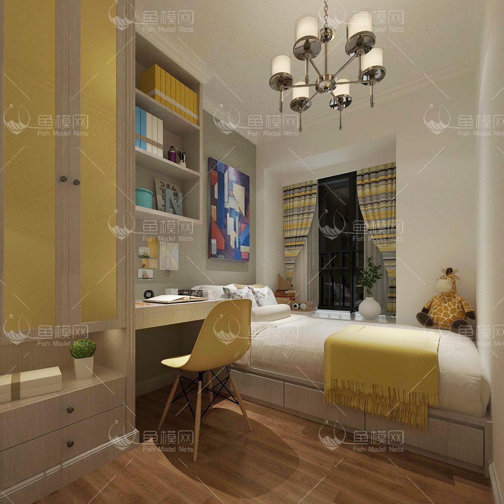 整体家装卧室空间儿童房现代风格儿童房 (3),模型ID:19319