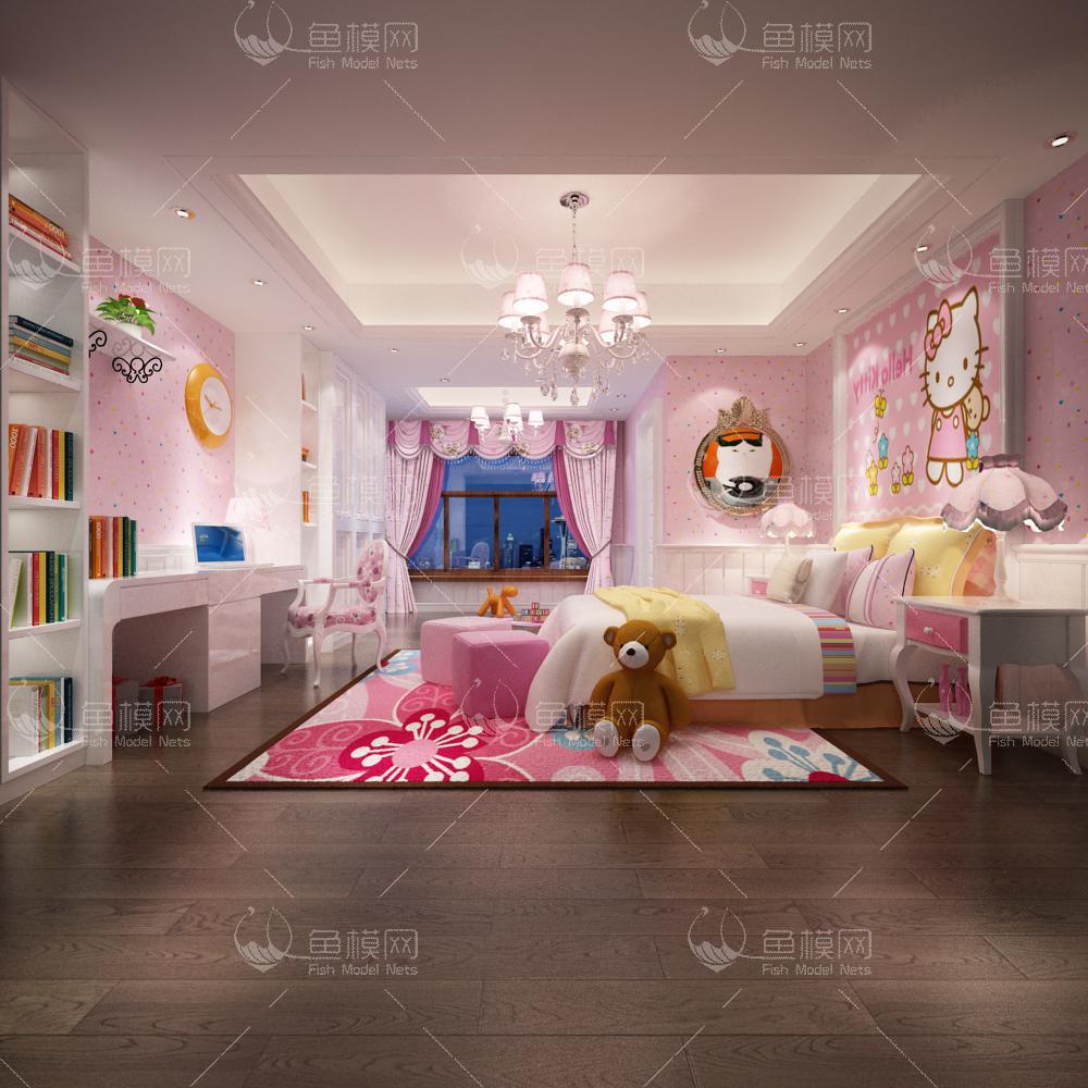 现代风格儿童房 (4)3d模型