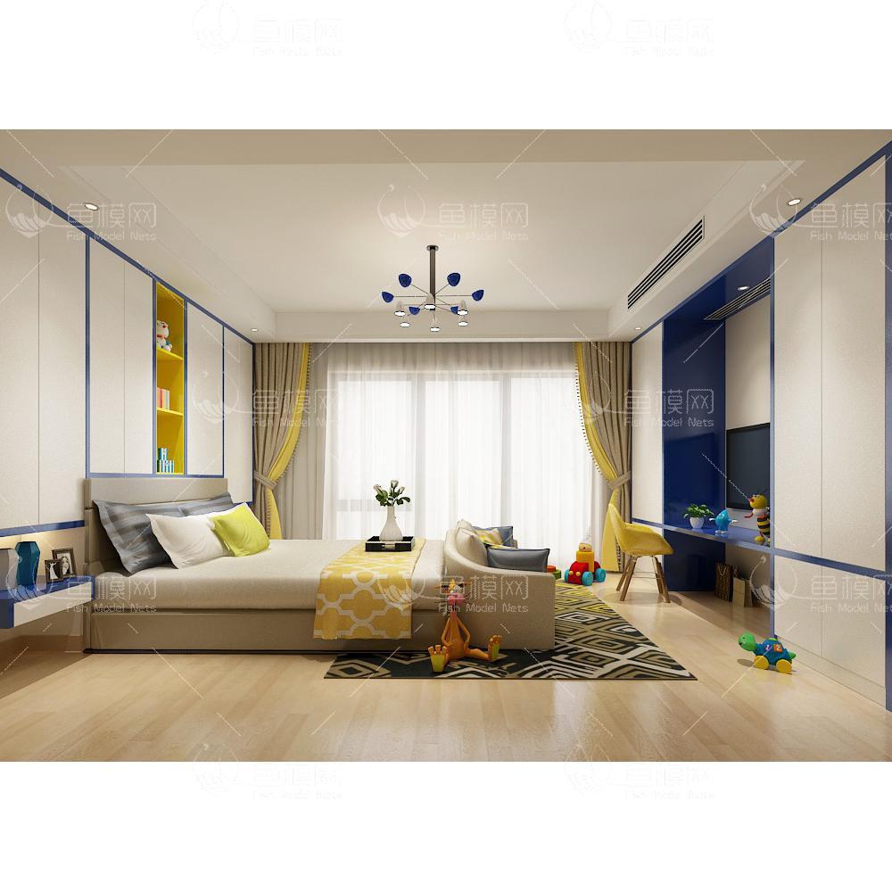 整体家装卧室空间儿童房现代风格儿童房 (6),模型ID:19322