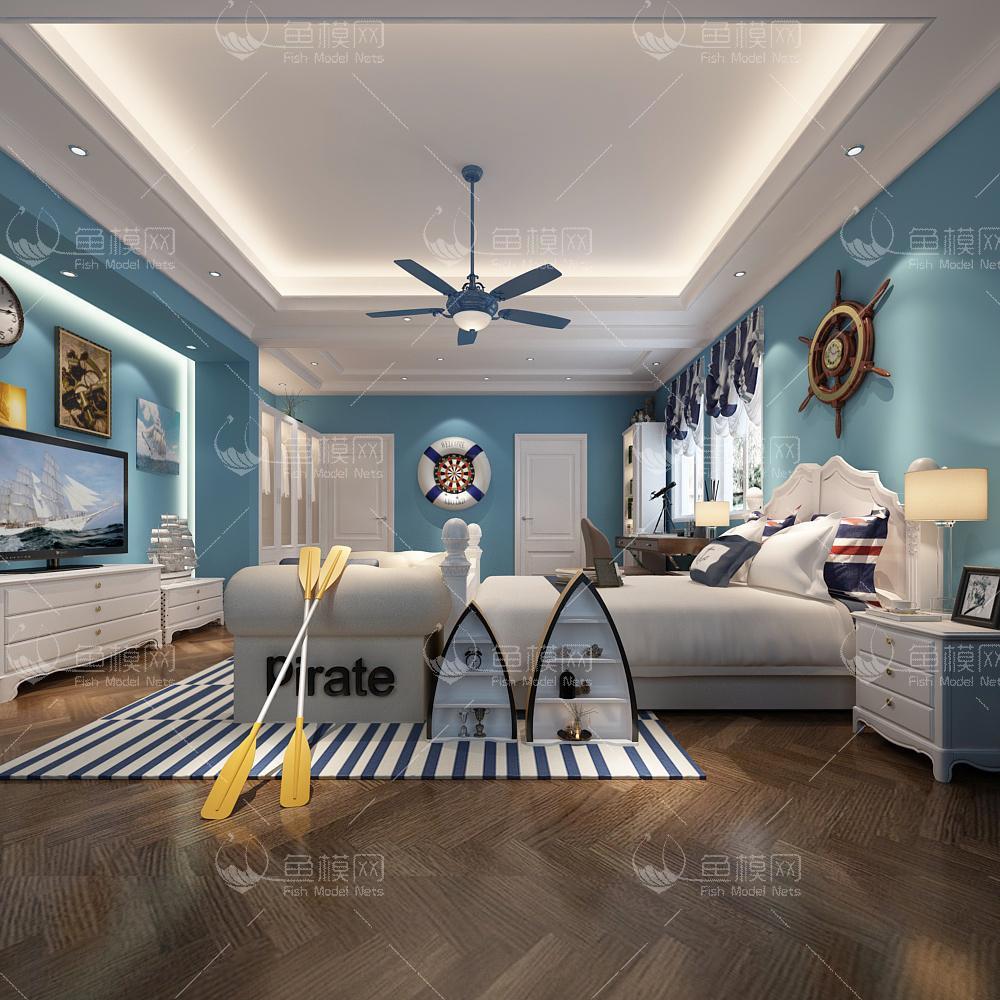 整体家装卧室空间儿童房地中海风儿童房 (3),模型ID:19326