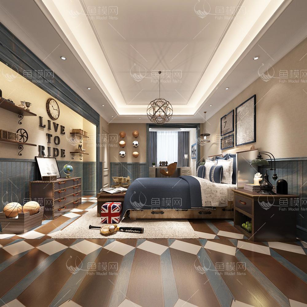 整体家装卧室空间儿童房美式风格儿童房 (2),模型ID:19332