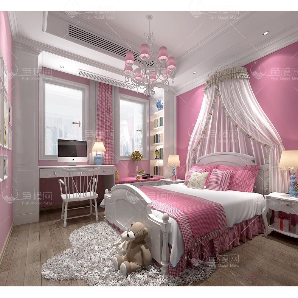 整体家装卧室空间儿童房欧式公主风 女儿房 (4),模型ID:19340