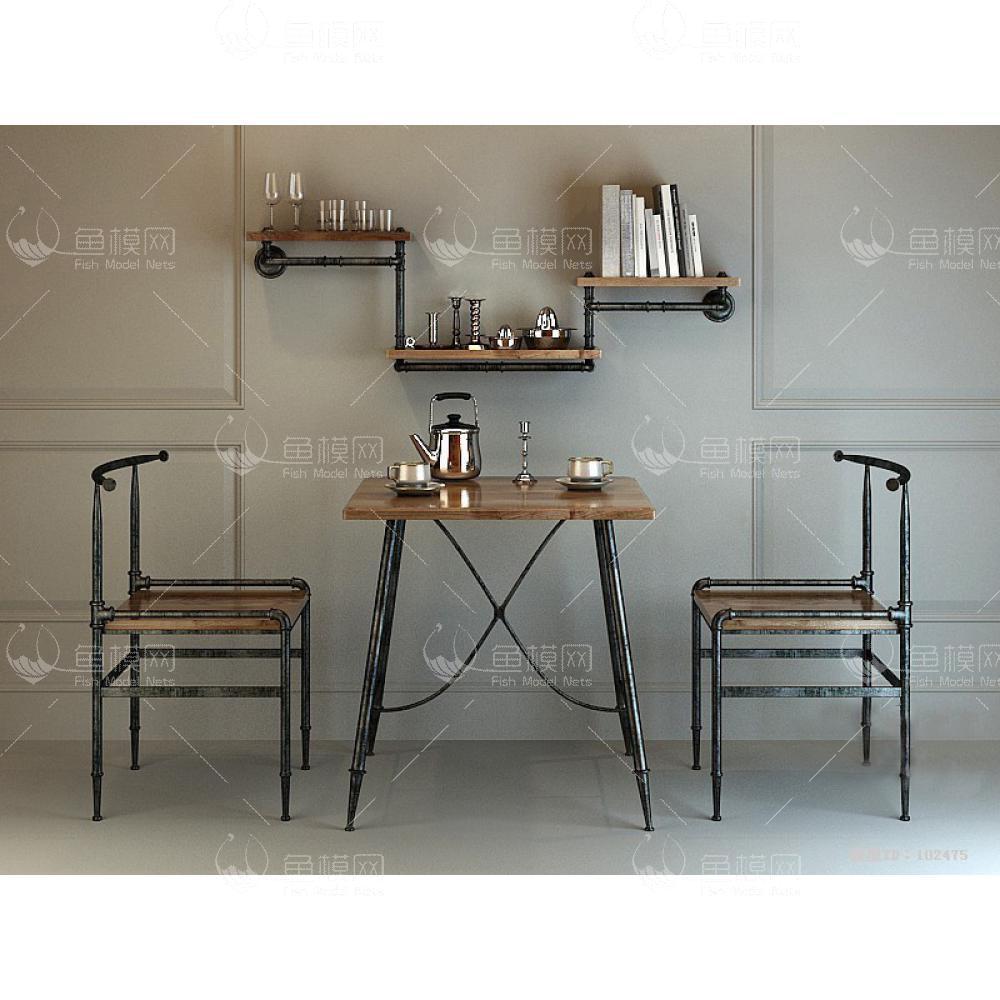 家具类桌台书桌工业风书桌椅 (3),模型ID:19359