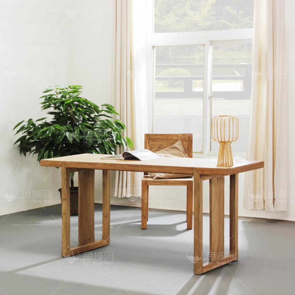 纯木简约书桌椅  (1)3d模型免费下载