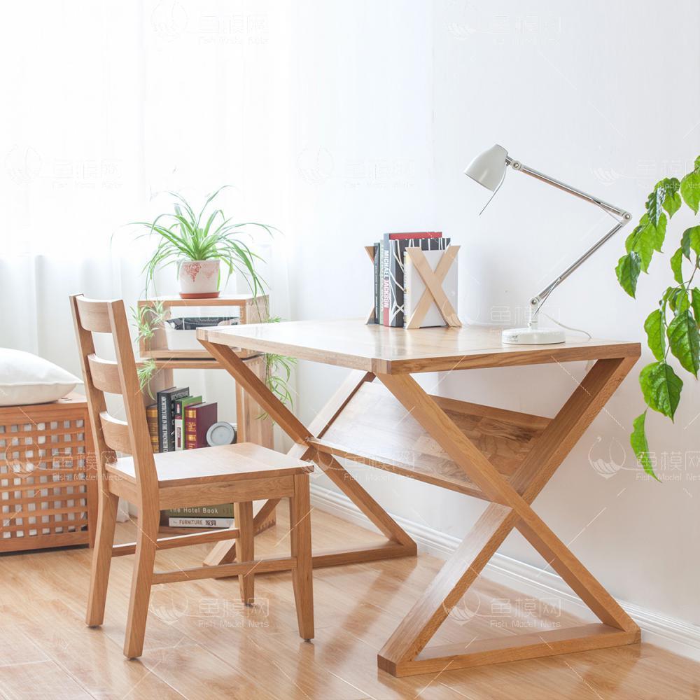 纯木简约书桌椅  (5)3d模型免费下载