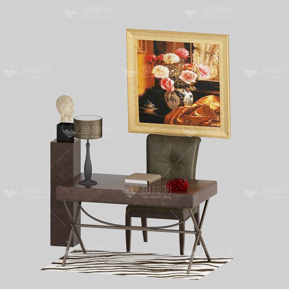 家具类桌台书桌书桌椅,模型ID:19365