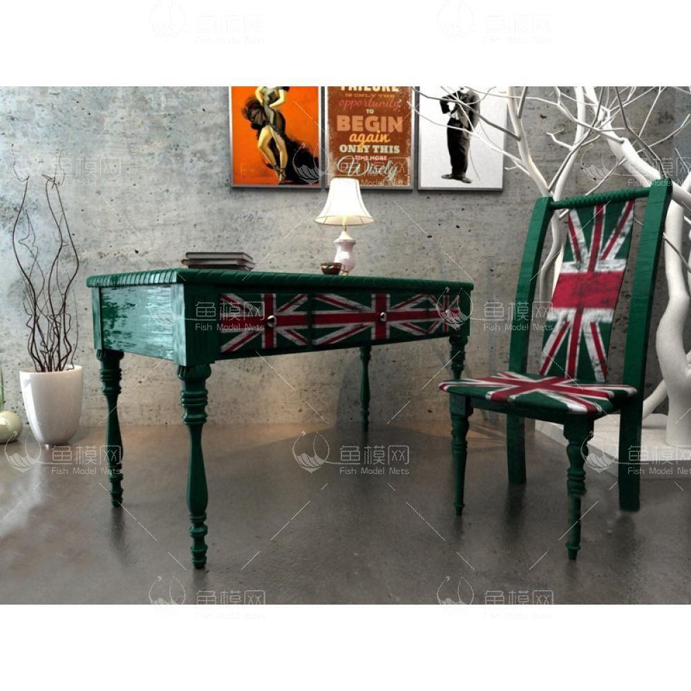 英伦风绿色清新书桌椅3d模型免费下载