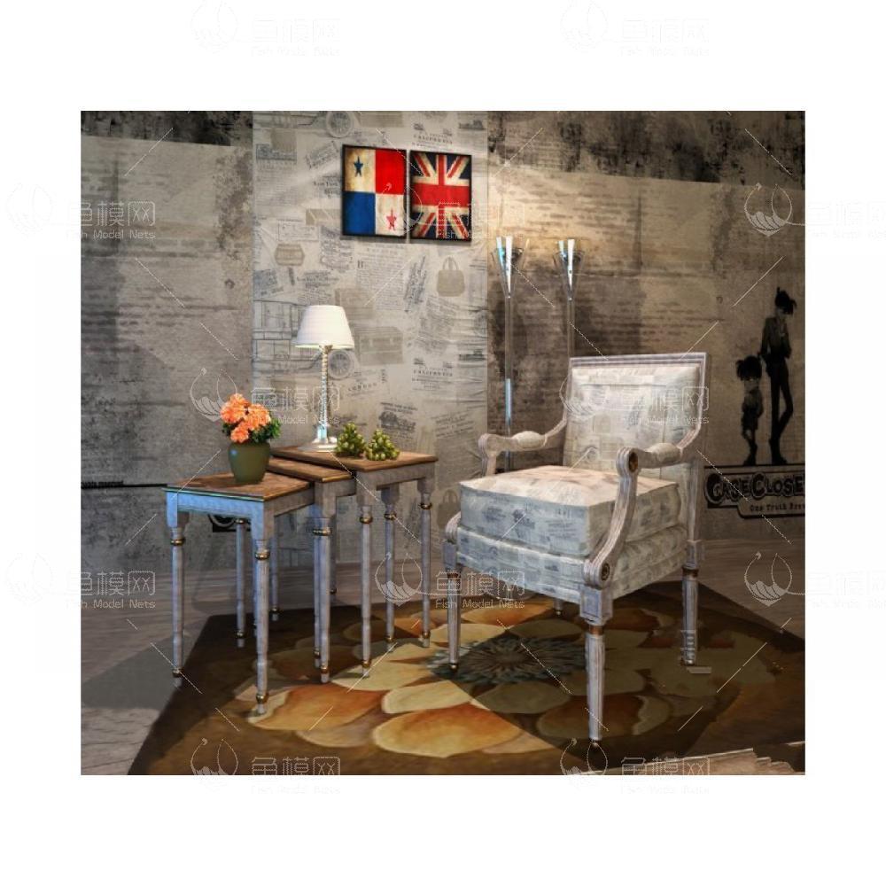 英伦特色书桌椅3d模型免费下载
