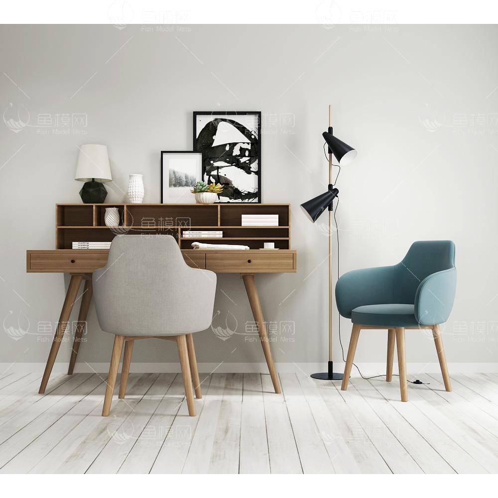 现代北欧书桌椅3d模型免费下载