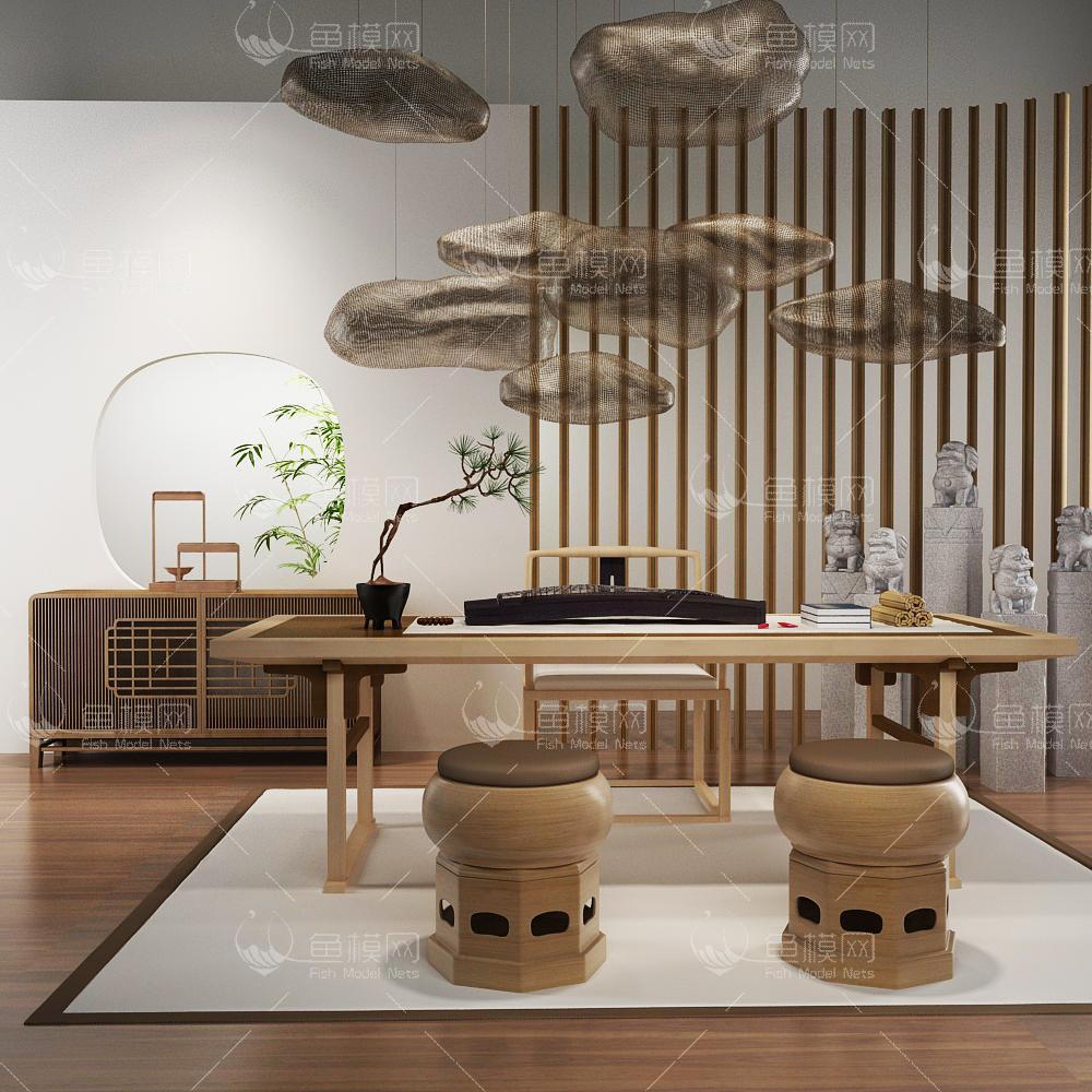 家具类桌台书桌新中式书房茶室,模型ID:19377