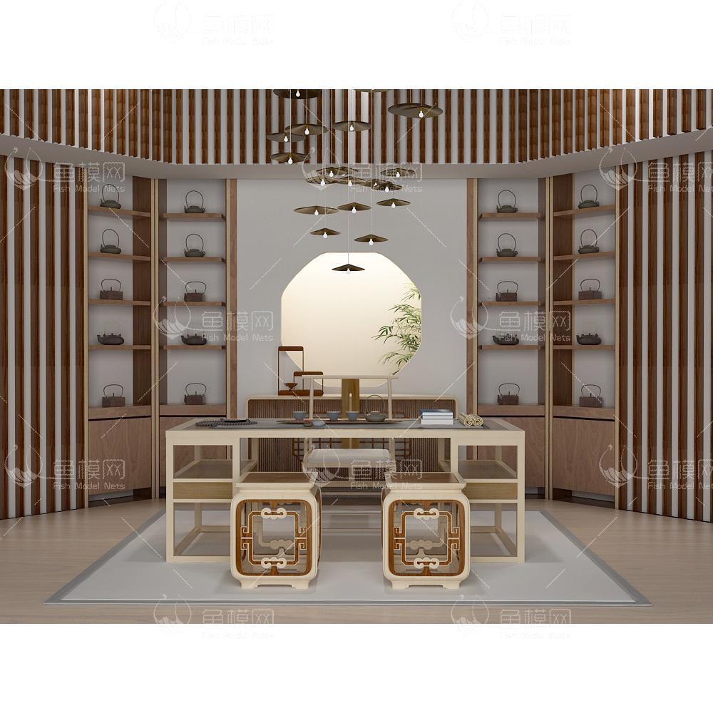 新中式书房茶室 (3)3d模型免费下载