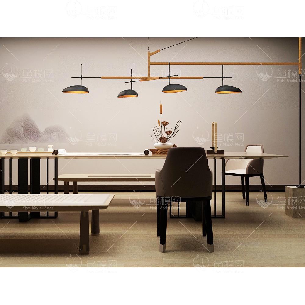 家具类桌台书桌新中式书房桌椅组合 (2),模型ID:19380