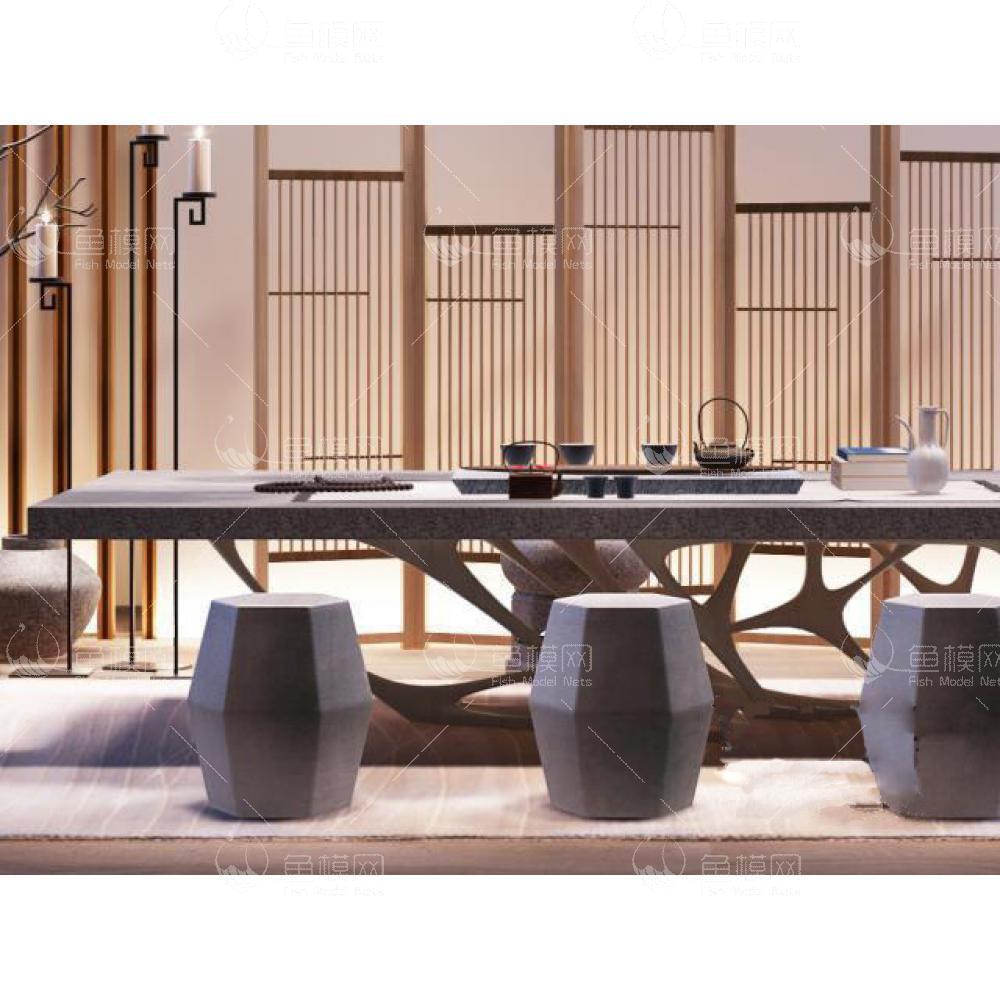 新中式书房茶室 (2)3d模型免费下载