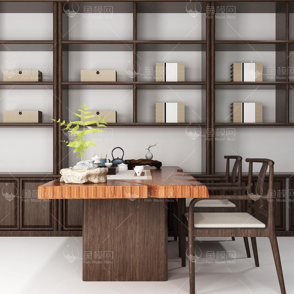 家具类桌台书桌新中式书桌椅陈设品组合,模型ID:19385