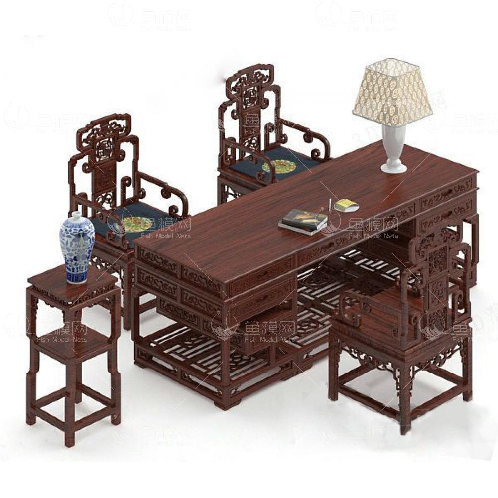 中式办公桌3d模型免费下载