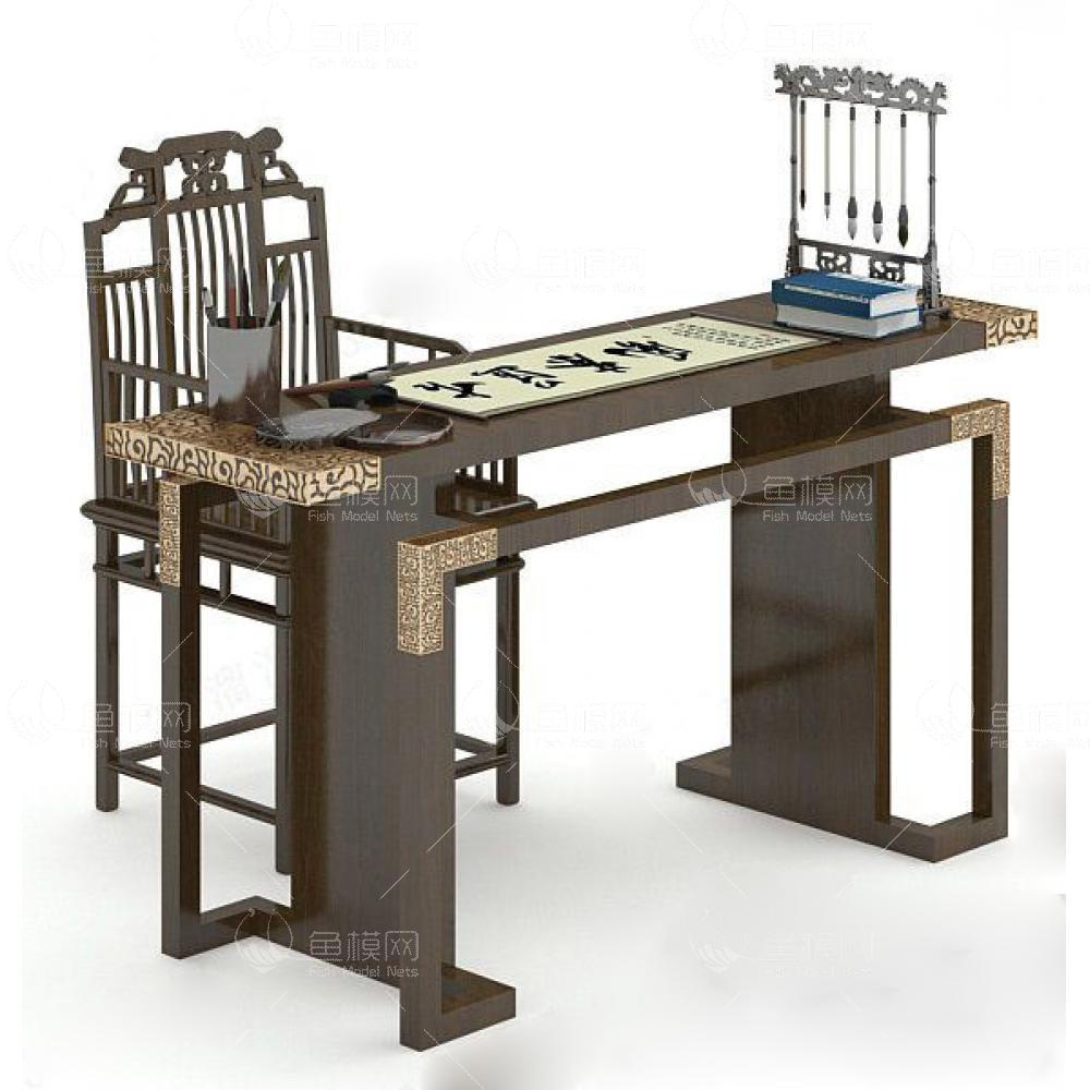 家具类桌台书桌中式书桌3,模型ID:19397