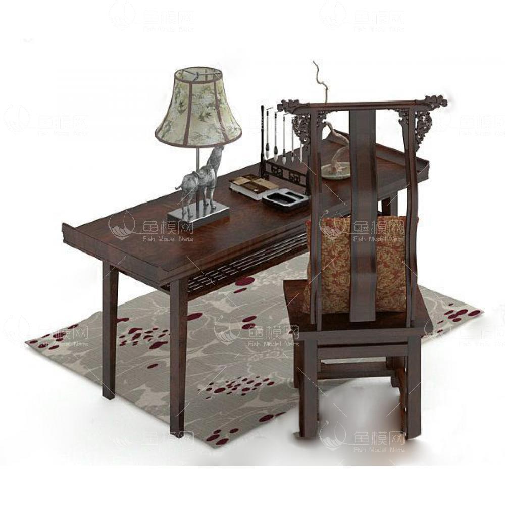 中式书桌43d模型免费下载