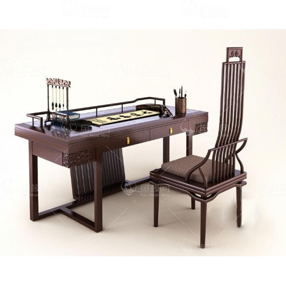中式写字书桌椅组合3d模型免费下载