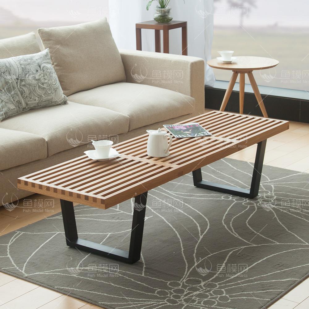 家具类桌台茶几实木简约茶几 (5),模型ID:19412