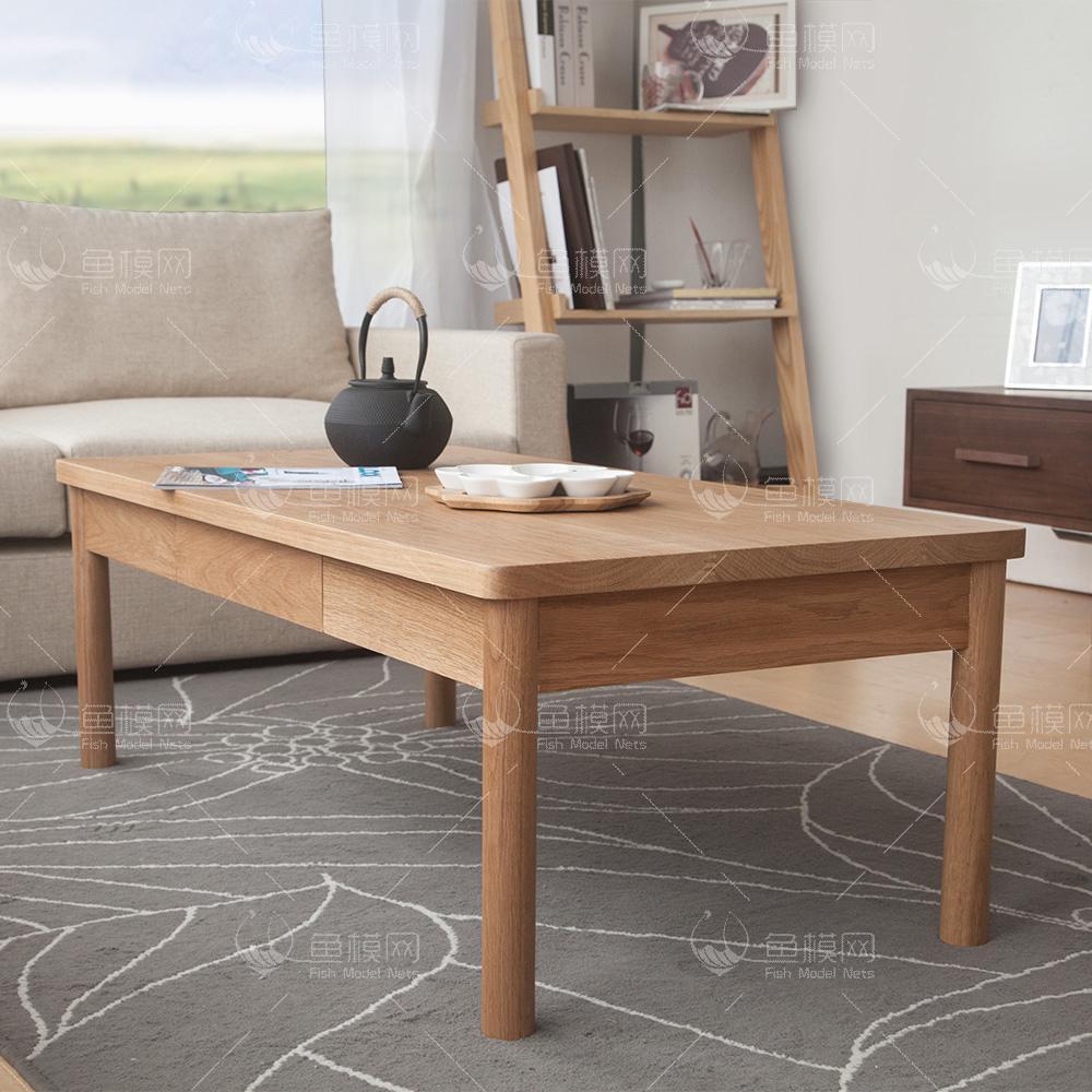 家具类桌台茶几实木简约茶几 (6),模型ID:19413