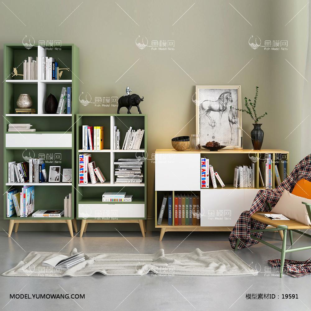 现代书柜3d模型