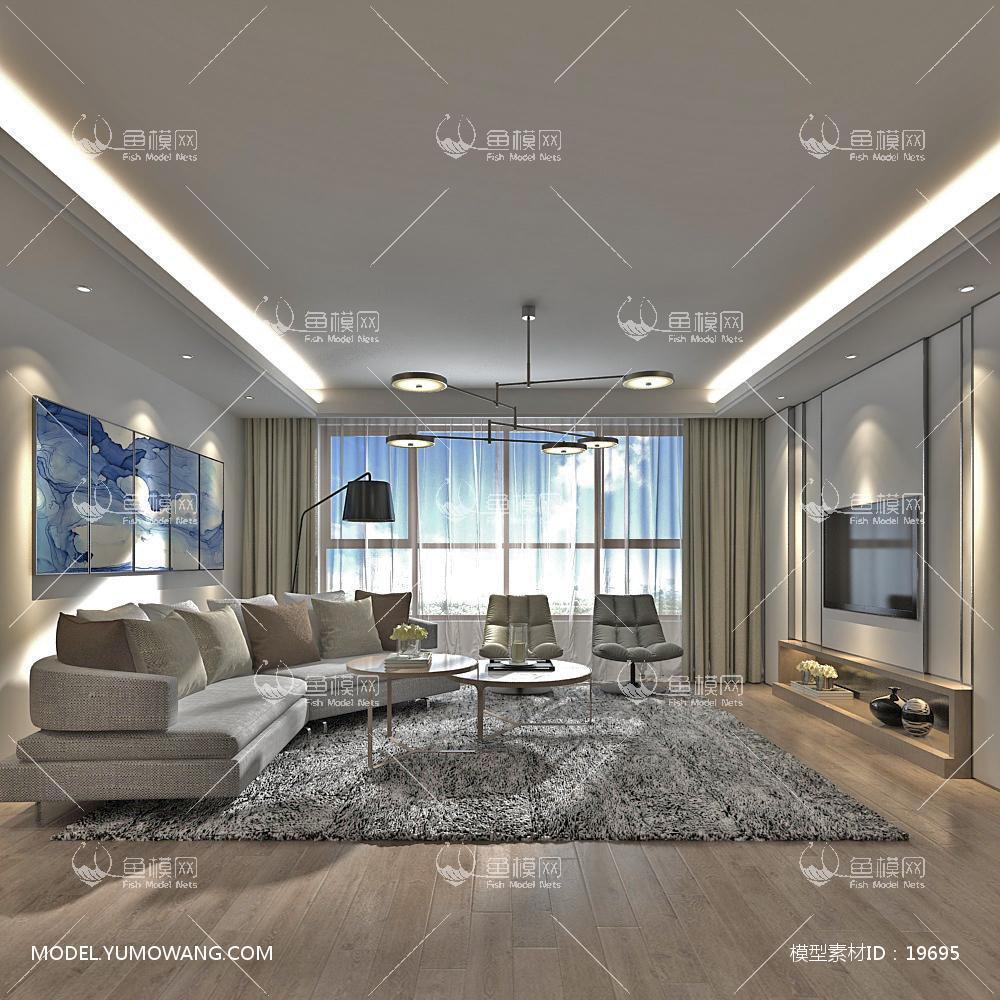 现代简洁大气有格调的客厅3D模型下载-[ID]19695