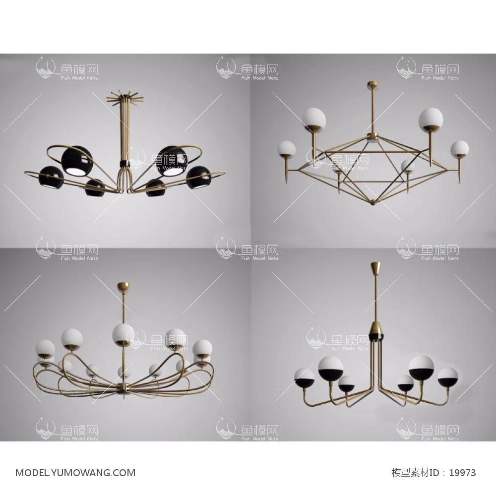 灯具类吊灯北欧后现代吊灯组合5,模型id:19973