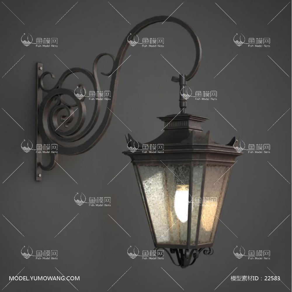 灯具类户外灯户外壁灯欧式复古风旧金属室内外装饰壁灯 (4),模型id