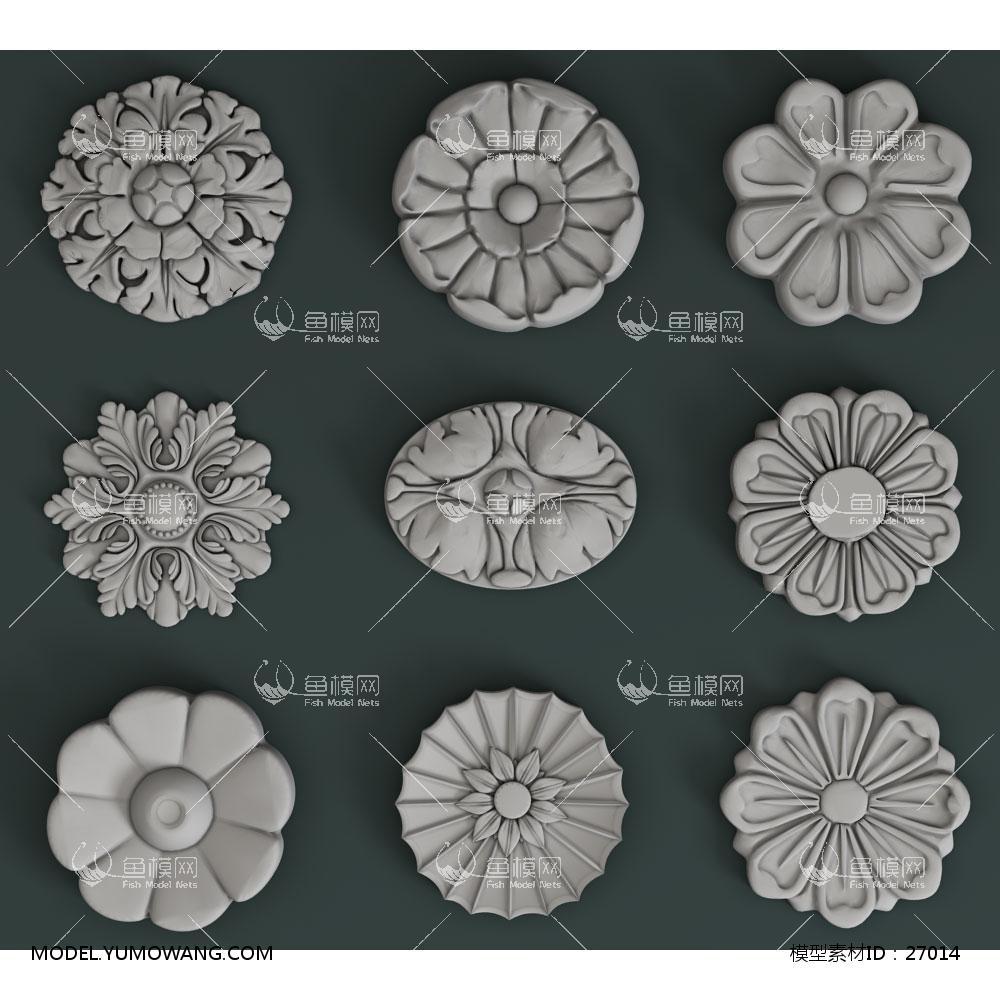 欧式石膏雕花雕刻构件 (5)3d模型 【id:27014】