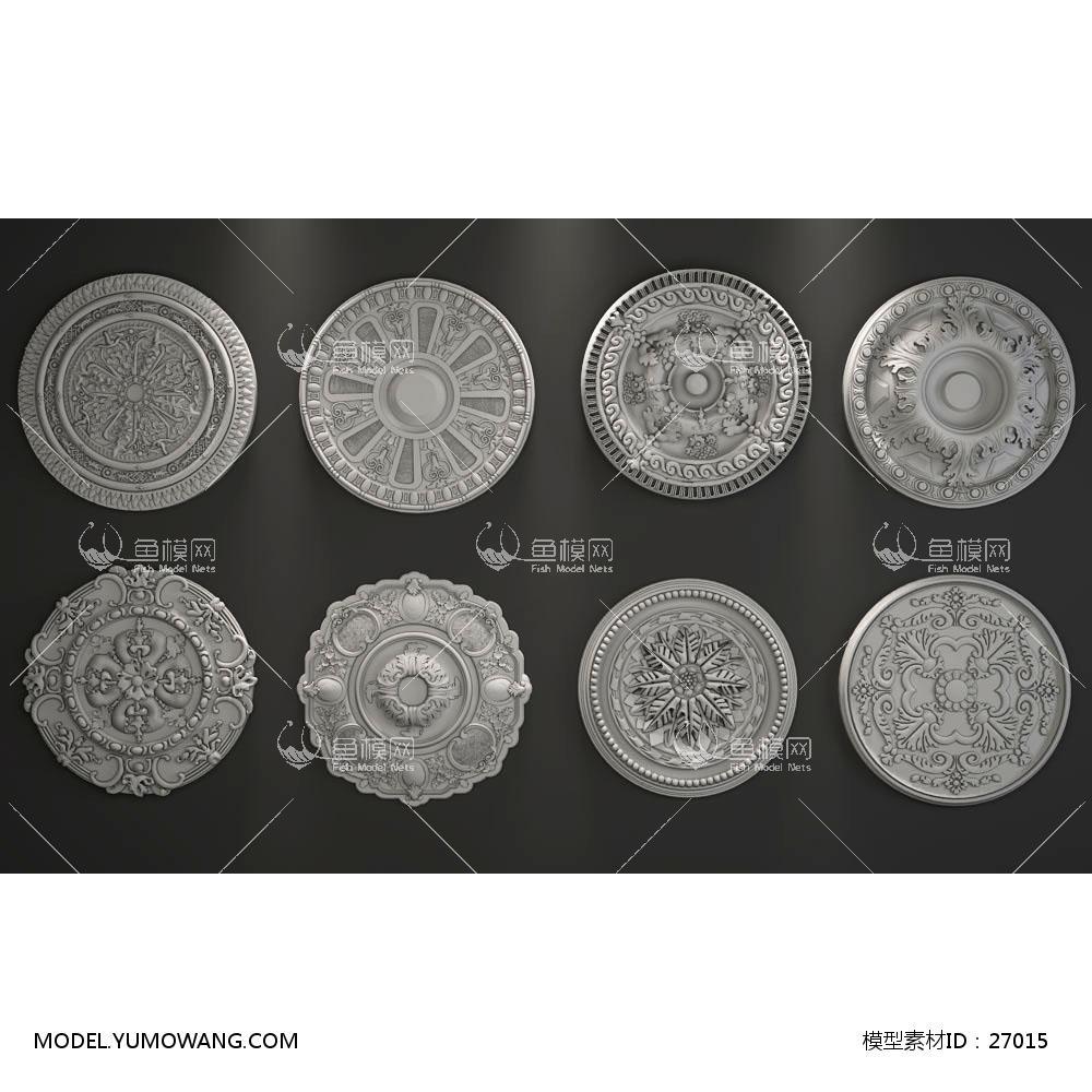 欧式石膏雕花雕刻构件 (7)3d模型 【id:27015】