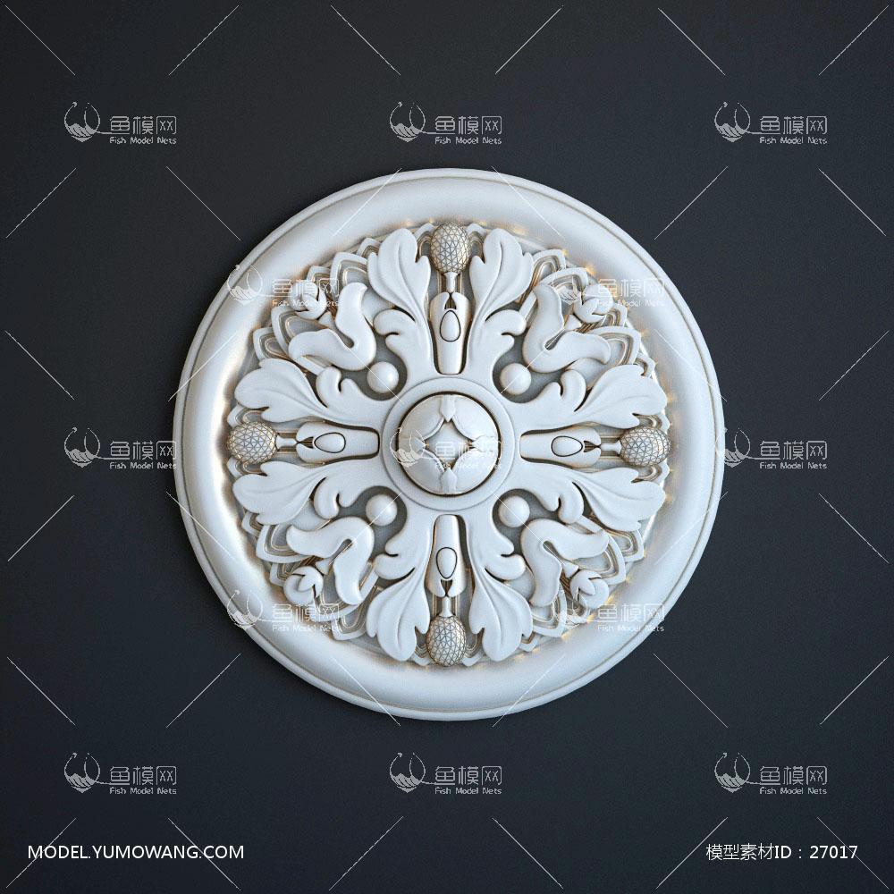 建模必备构件雕花线条欧式石膏描金雕花雕刻 (2),模型id:27017